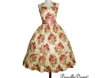 Buy me roses Dress Rockabilly Retro Style Gown with Ruffled Skirt with red and pinks----.Custom in your Size