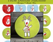 Pinback BUTTON Images 1.5 inch round 1.837 overall size - Red and White Christmas Collage Sheet AMERICAN BUTTON Machine Tecre