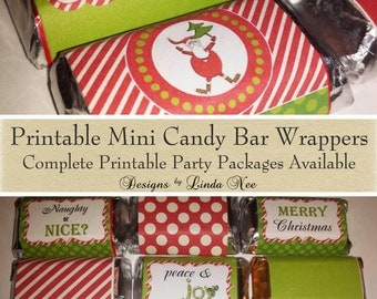 Candy Bar Wrappers - Santa Christmas Mini Hershey Bar Candy Wrappers Images christmas printable - Candy Bar Wrap - Mini Candy Bar - Reindeer