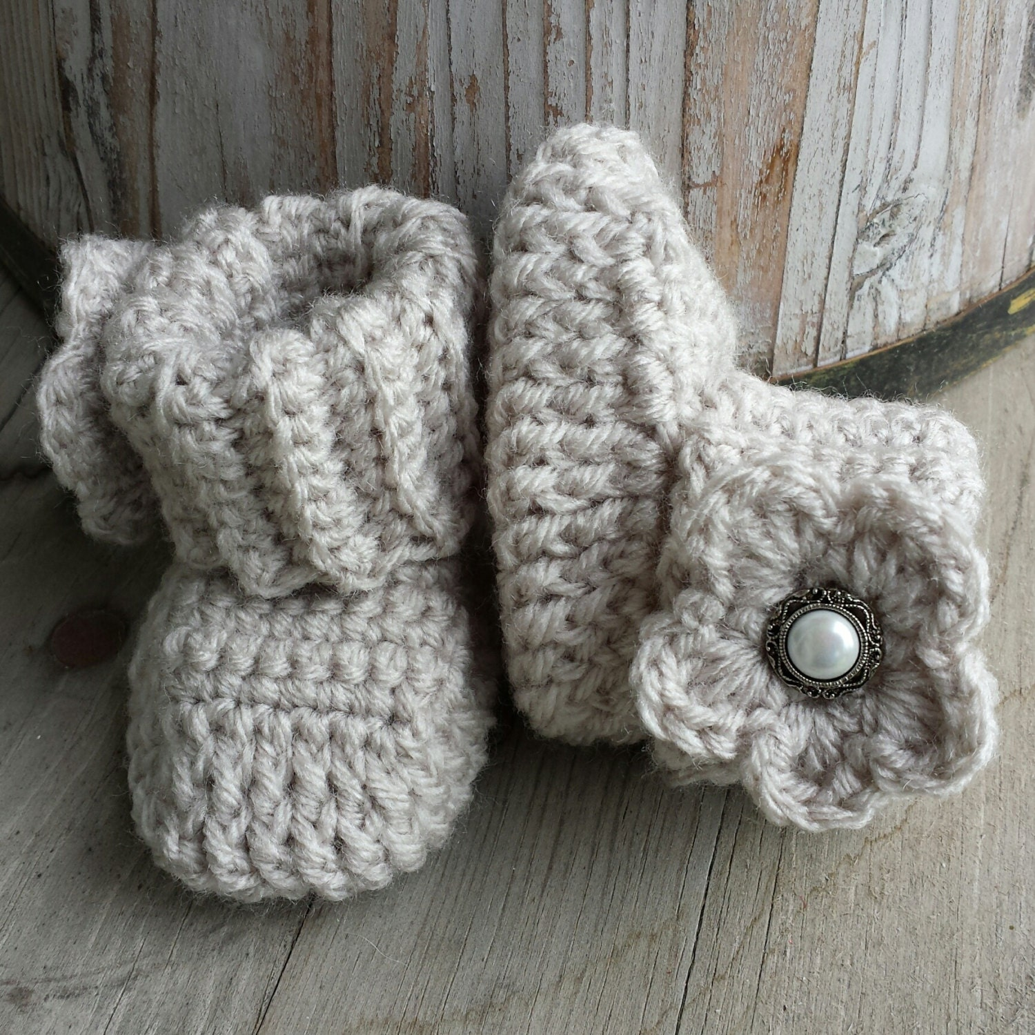 Crochet Baby Girl Boots Pattern : Crochet baby girl boots in oatmeal with matching flower and