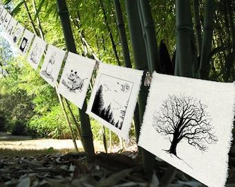 Earth Prayers (11 group) silk prayer flags-Garlands-Decor -Entertaining -Earth Decor-Garden-Bunting-Entry-WeddingDecorations-Earth Gift