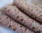 LAST ONE vintage chocolate brown, pink and white suiting fabric