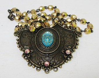 Pendant Necklace, Scarab Jewelry,  Aqua Blue,  Large Pendant, Gold Beads, Antique Bronze, Pink, Yellow,