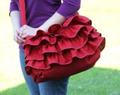 Diaper Bag with Ruffles and Cross Body Strap - Cranberry Red -