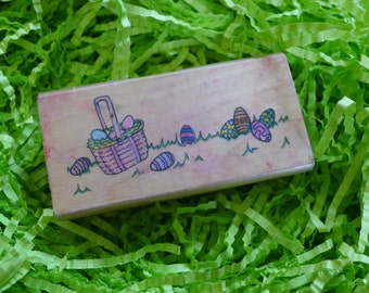 Easter Basket and Eggs Rubber Stamp