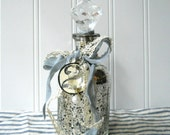 Upcycled Mercury glass bottle decanter vintage style Shabby Romantic Cottage Chic Prism stopper S2