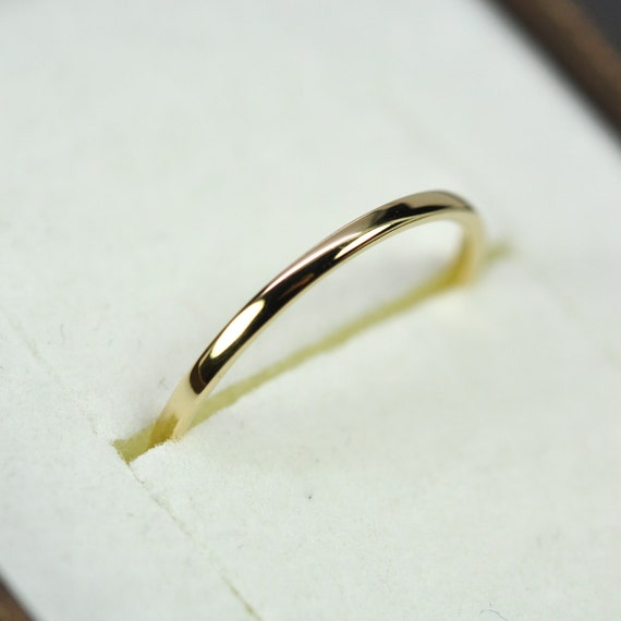 18k yellow gold skinny 1mm wedding band or fashion ring
