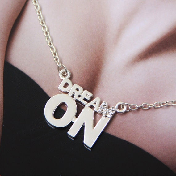 Dream On Necklace. Inscription Collection. Inspirational jewelry by Stjern on Etsy