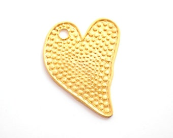 1 pc Matte 22K Gold Plated Base Heart Pendant- HEART 50x40mm-(001-010GP)