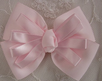 PINK Grosgrain Satin Ribbon Bow Applique Bridal Baby Hair Accessory