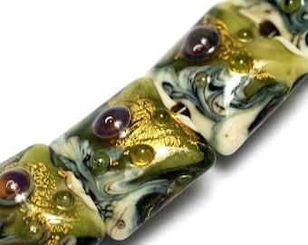 Glass Lampwork Bead Set - Seven Emerald Treasure Pillow Beads 10505204