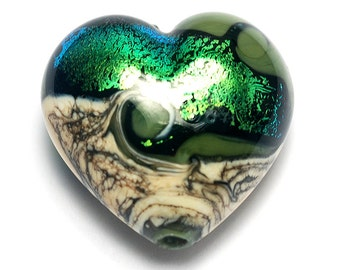 Olivine Heart (Large) - 11834225 - Handmade Glass Lampwork Beads
