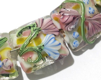 Glass Lampwork Bead Set - Seven Light Pink w/Blue Floral Pillow Beads 11005404