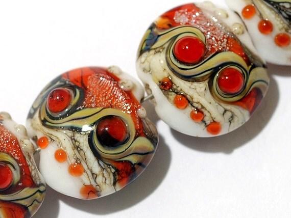 Glass Lampwork Bead Set - Four Fire Red Stardust Lentil Beads 10705612