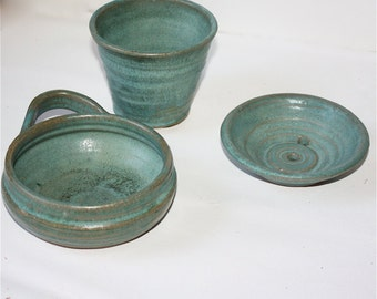 Mens  Shaving Mug  Soap Dish and and Tumbler Set in  Aqua Glazed Stoneware with Shaving Brush