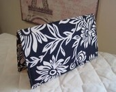 CUSTOM MADE to Order Checkbook cover or Coupon Organizer Navy Blue Floral Hawaiian with Polka Dots