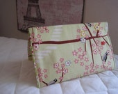 CUSTOM MADE to Order Checkbook cover or Coupon Organizer Birds and Pink Cherry Blossoms Flowers