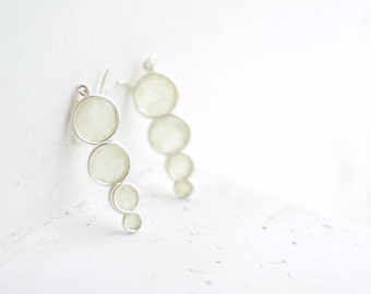Snow White Bubble Earrings in Sterling Silver, 1st Anniversary Gift Paper Jewelry, Minimalist Simple Contemporary, Pearl Bridal Bridesmaid..