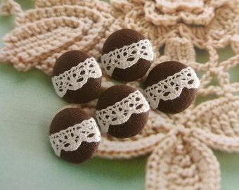 "Fabric Buttons, Small Dark Brown Cream Flower Floral Lace Fabric Buttons, Small Lace Wedding Buttons, Flat Back, 0.75"" 5's"