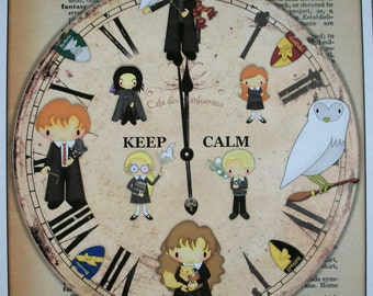 HARRY POTTER - PaPER CLoCK WaLL ArT - one 8 x 10 print - Adorable - Whimsical - HP 909
