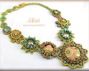 Statement necklace - OOAK beadwork and soutache - pastel cream peach salmon turquoise gold - NY 206 - Háya