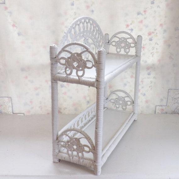 Wicker Wall Shelf Bathroom: Vintage White Wicker Shelves For Wall Or Standing For Display