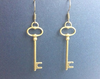 Steampunk Skeleton Key Earrings