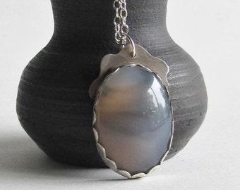 Agate Necklace - Gray Chevron - Pendant Necklace