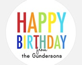 Kids stickers, Personalized Happy Birthday stickers, Rainbow stickers, gift tags, girl, boy - 18 stickers