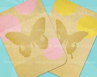 SPRING DAYDREAMS Butterfly Tags Digital Collage Sheet 2.5x3.5in Pastel Polka Dots - no. 0107