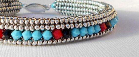 bead jewelry southwestern turquoise beaded braclet crystal bangle