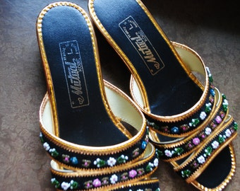 "Vintage 60s black beaded velvet with ""gold""trim ,wedge slides house shoes, sleepers, sandals.Made by Mutural Kobe.Size 5  1/2"