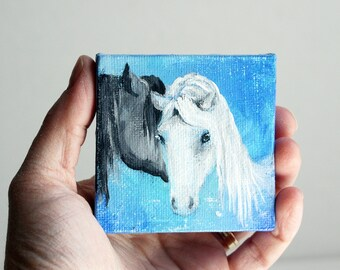Tiny Horse Painting - Equine Art - Horse Love Blue and Black