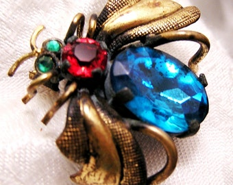 Vintage Czechoslovakian Bug Pin Brooch with Blue Red Green Rhinestones (J107)