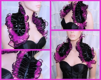 Fuchsia Hot Pink Tulle and Black PVC Shoulder Wrap - MTCoffinz - Ready to ship