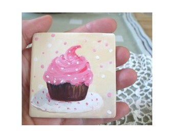 Refrigerator Magnet - CHOCOLATE CUPCAKE - Hand Painted On Stone By Rodriguez