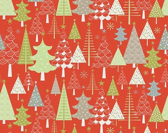 Merry Trees Red from A Merry Little Christmas Collection by Riley Blake Fabrics - 1/2 yard on sale