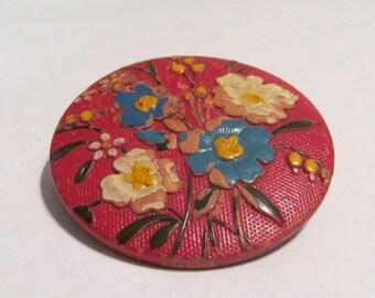 Wood flower brooch