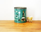ON HOLD  vintage 50s Mid Century Kitchen Items Novelty Printed Tin Canister