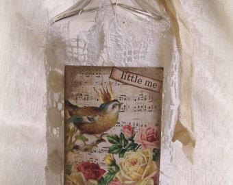 Altered Bottle Vintage  Bottle Shabby White Bottle Original Altered Collage Art Bottle Antique Bottle Bird Art Vintage Bird