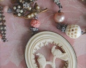 The Love Birds-Antique Victorian Period Hand Carved Love Birds Assemblage Necklace