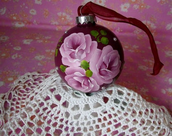 Round Glass Ornament Hand Painted Pink Roses Pearls Burgundy