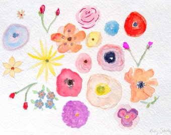 Flower Study, original watercolor painting