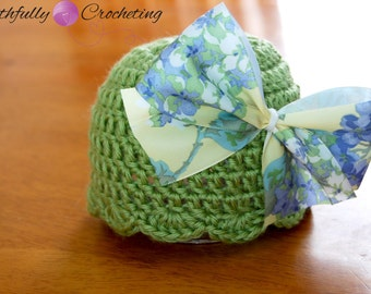 Newborn Beanie With Bow.... Photography Prop... RTS
