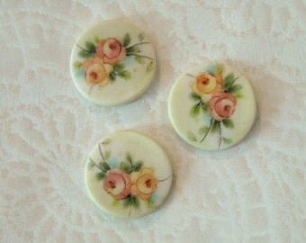 Double Rose Round Buttons - Handmade and Hand Painted - 3/4 inch - Set of 3