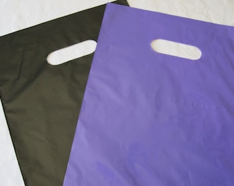 50 Gift Bags, Black Plastic Bags, Purple Plastic Bags, Merchandise Bags, Retail Bags, Shopping Bags, Favor Bag, Bags with Handles 9x12