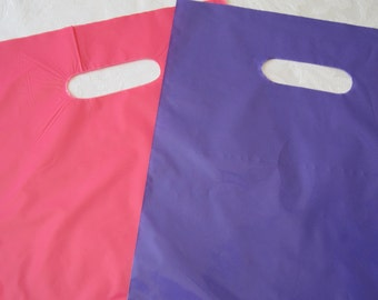 50 Plastic Bags, Gift Bags, Pink Bags, Purple Bags, Hot Pink Bags, Merchandise Bags, Retail Bags, Party Favor Bags, Bags with Handles 9x12