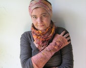 SALE  3 pieces Set of Felted Scarf , head band and a Pair of Silk Fingerless