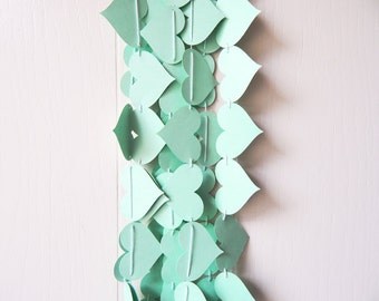 Heart Garland In Green Mint / Mint Wedding Decor / Photo Prop / Mint Table  Accent