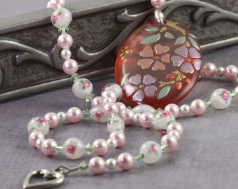 Floral Necklace Pink Pearl Necklace Romantic Jewelry Green White Flower Necklace Lampwork Bead Necklace Wedding Jewelry Bridesmaid Necklace